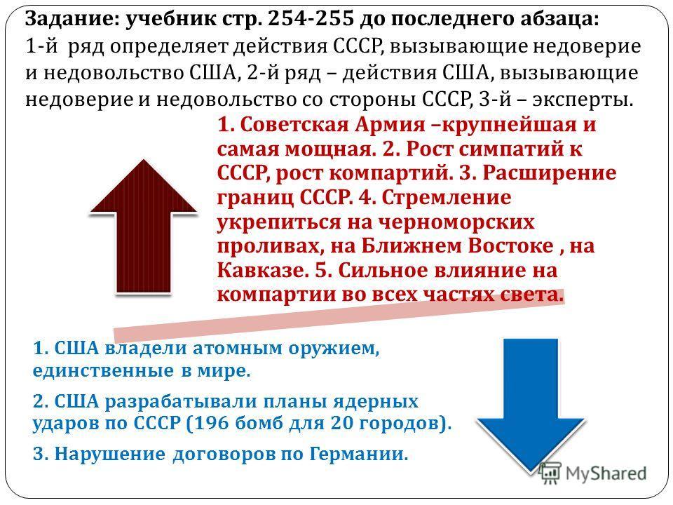 Задание : учебник стр. 254-255 до последнего абзаца : 1- й ряд определяет действия СССР, вызывающие недоверие и недовольство США, 2- й ряд – действия США, вызывающие недоверие и недовольство со стороны СССР, 3- й – эксперты. 1. Советская Армия – круп