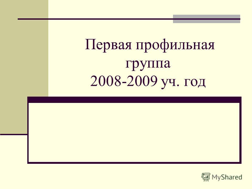 Первая профильная группа 2008-2009 уч. год