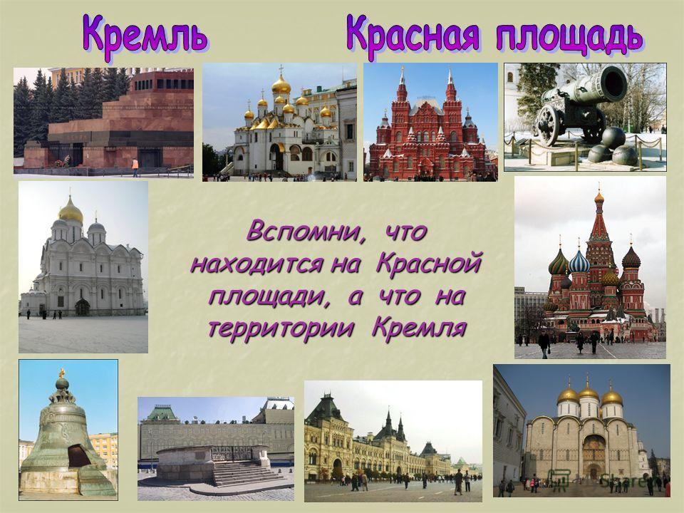 Вспомни, что находится на Красной площади, а что на территории Кремля