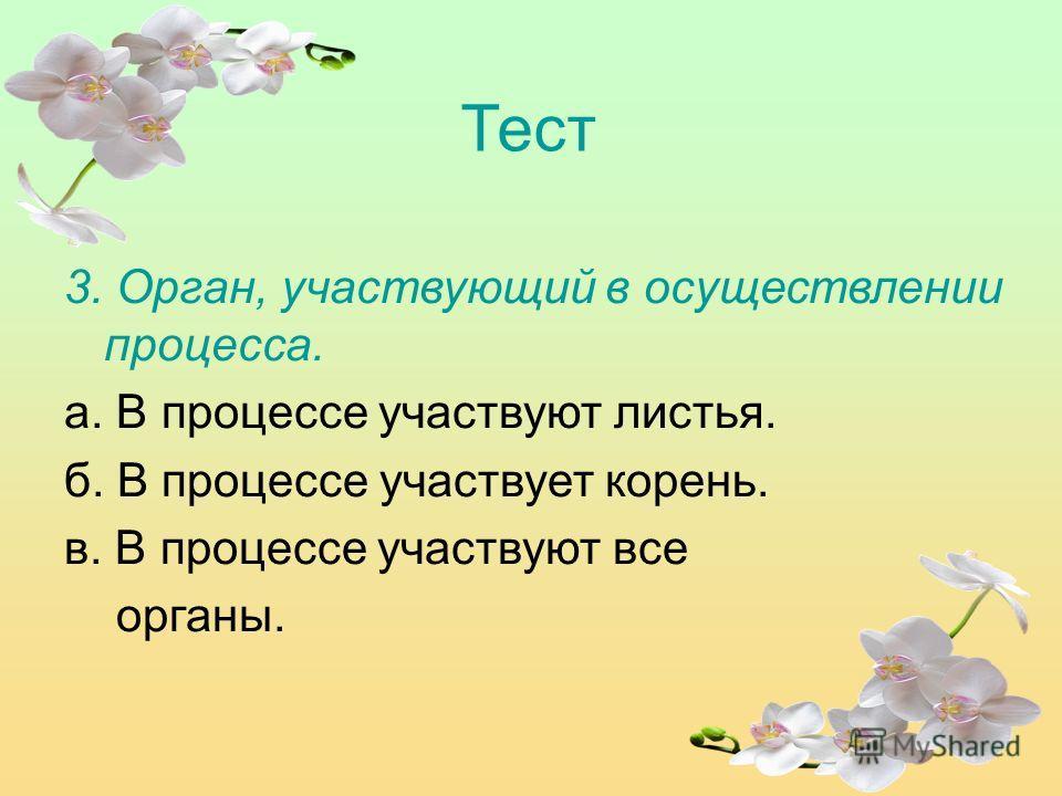 Тест 3. Орган, участвующий в осуществлении процесса. а. В процессе участвуют листья. б. В процессе участвует корень. в. В процессе участвуют все органы.