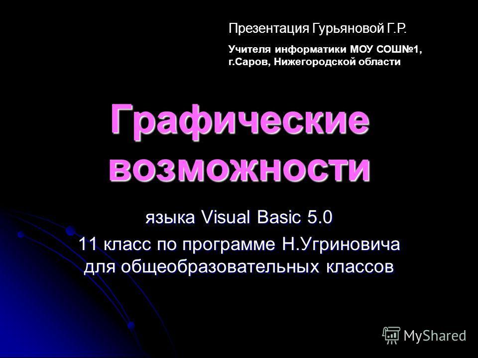 Графические возможности языка Visual Basic 5.0 11 класс по программе Н.Угриновича для общеобразовательных классов Презентация Гурьяновой Г.Р. Учителя информатики МОУ СОШ1, г.Саров, Нижегородской области