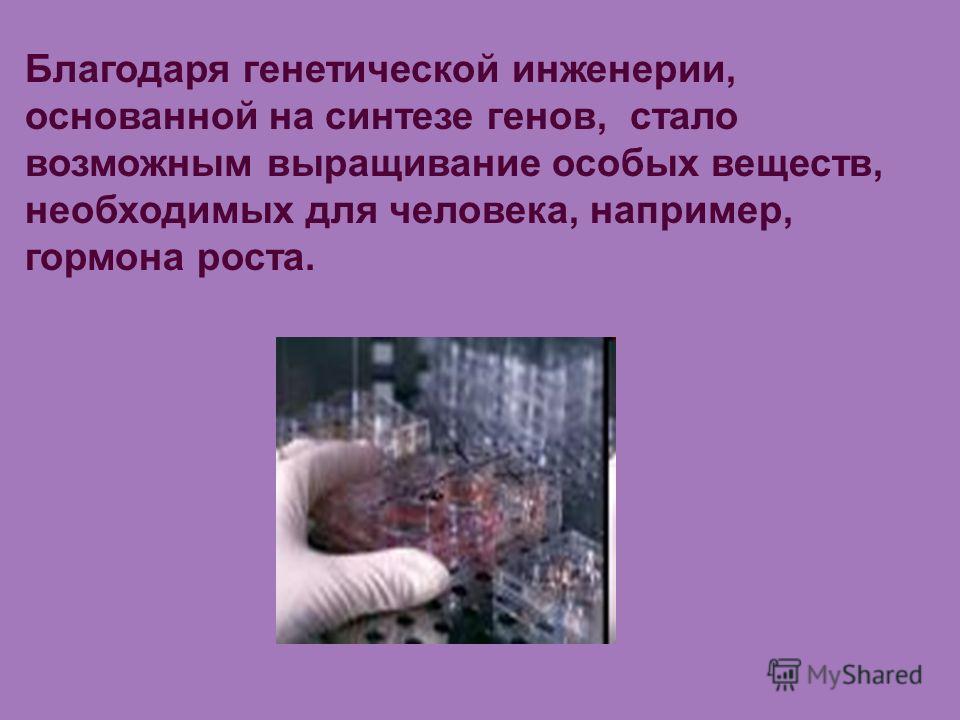 Благодаря генетической инженерии, основанной на синтезе генов, стало возможным выращивание особых веществ, необходимых для человека, например, гормона роста.