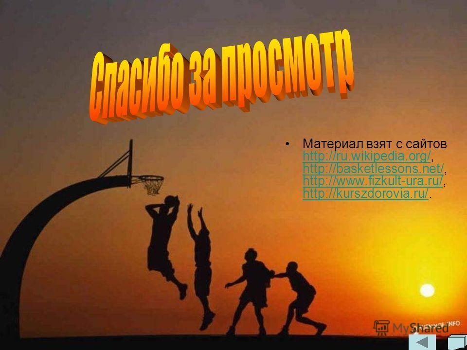 Материал взят с сайтов http://ru.wikipedia.org/, http://basketlessons.net/, http://www.fizkult-ura.ru/, http://kurszdorovia.ru/. http://ru.wikipedia.org/ http://basketlessons.net/ http://www.fizkult-ura.ru/ http://kurszdorovia.ru/