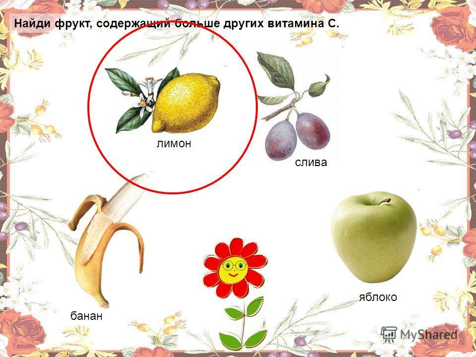 Найди фрукт, содержащий больше других витамина С. яблоко банан лимон слива