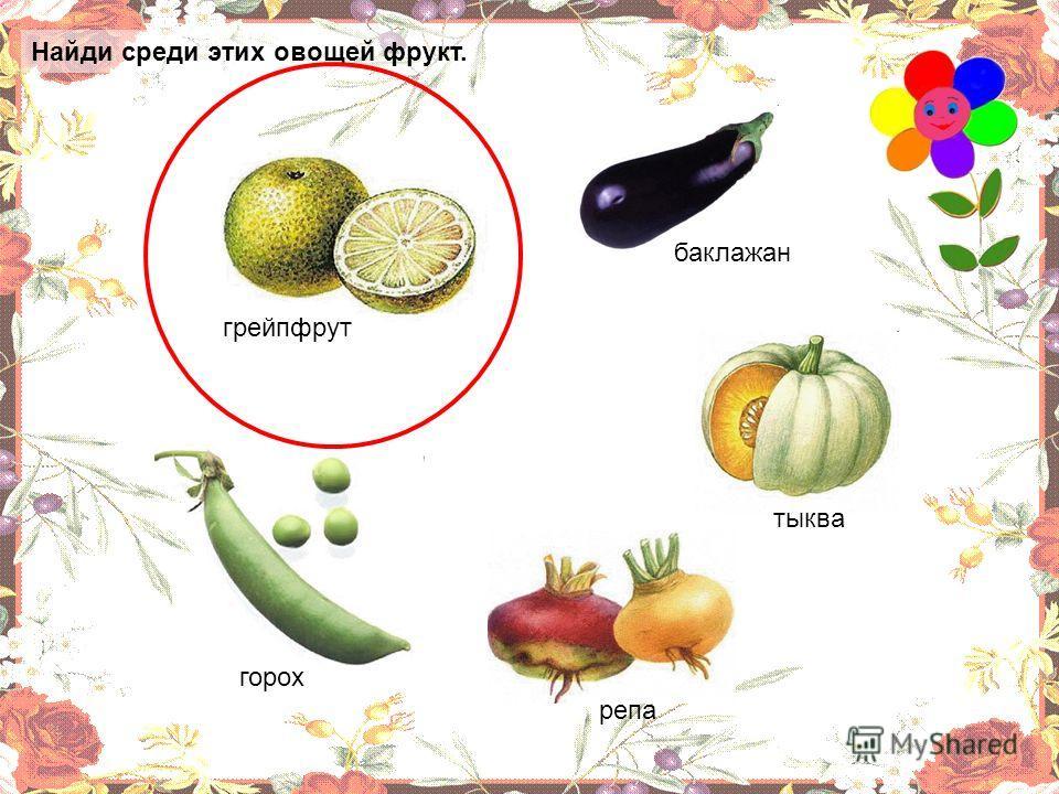 Найди среди этих овощей фрукт. грейпфрут баклажан тыква горох репа