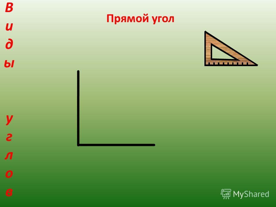 Виды угловВиды углов Прямой угол