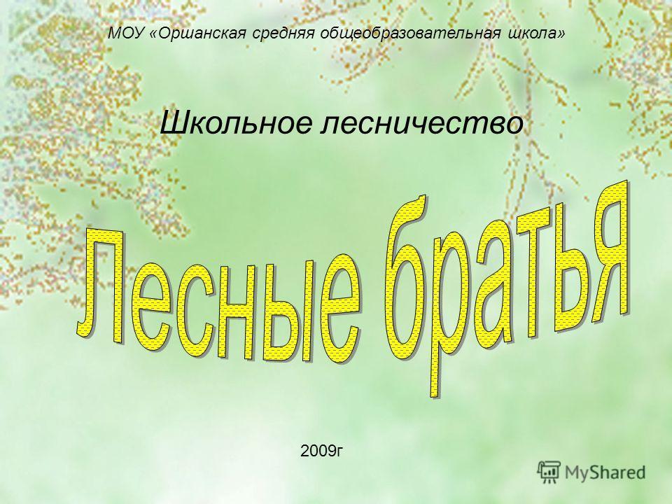 МОУ «Оршанская средняя общеобразовательная школа» Школьное лесничество 2009г