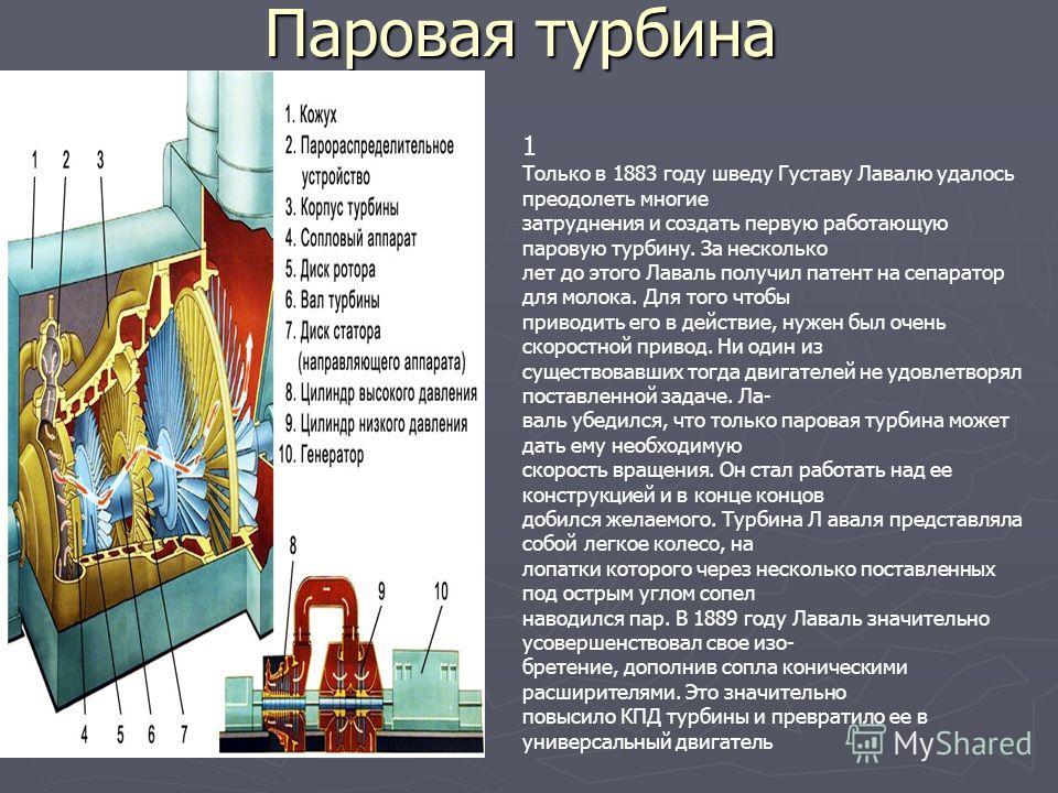 Паровая турбина 1 Только в 1883 году шведу Густаву Лавалю удалось преодолеть многие затруднения и создать первую работающую паровую турбину. За несколько лет до этого Лаваль получил патент на сепаратор для молока. Для того чтобы приводить его в дейст