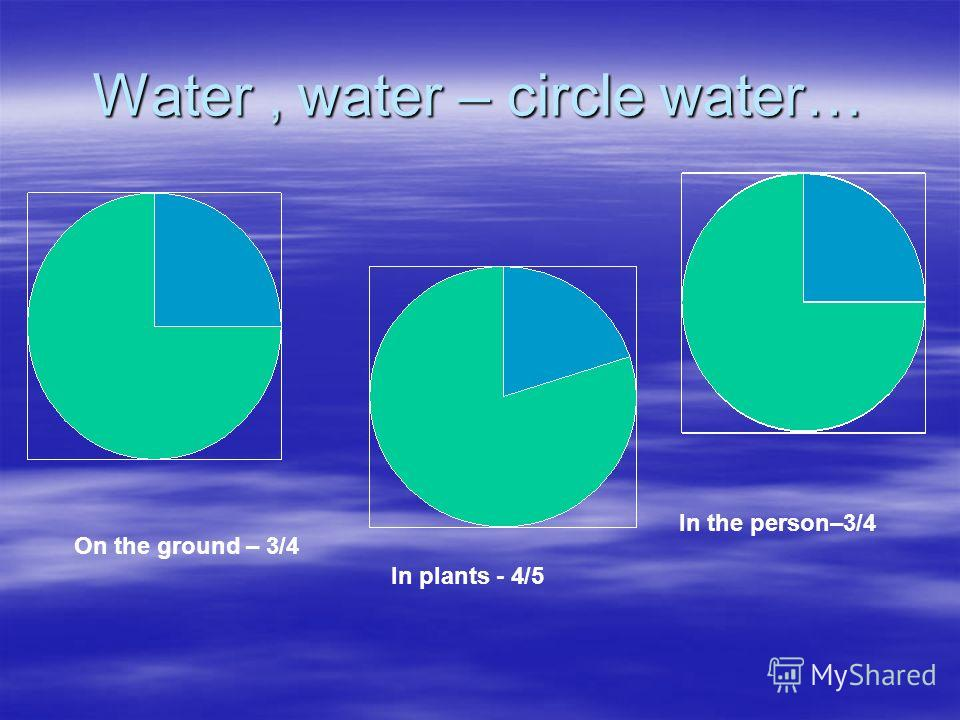 Water, water – circle water… On the ground – 3/4 In plants - 4/5 In the person–3/4
