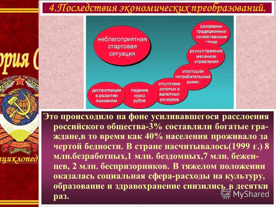 Это происходило на фоне усиливавшегося расслоения российского общества-3% составляли богатые гра- ждане,в то время как 40% населения проживало за чертой бедности. В стране насчитывалось(1999 г.) 8 млн.безработных,1 млн. бездомных,7 млн. бежен- цев, 2