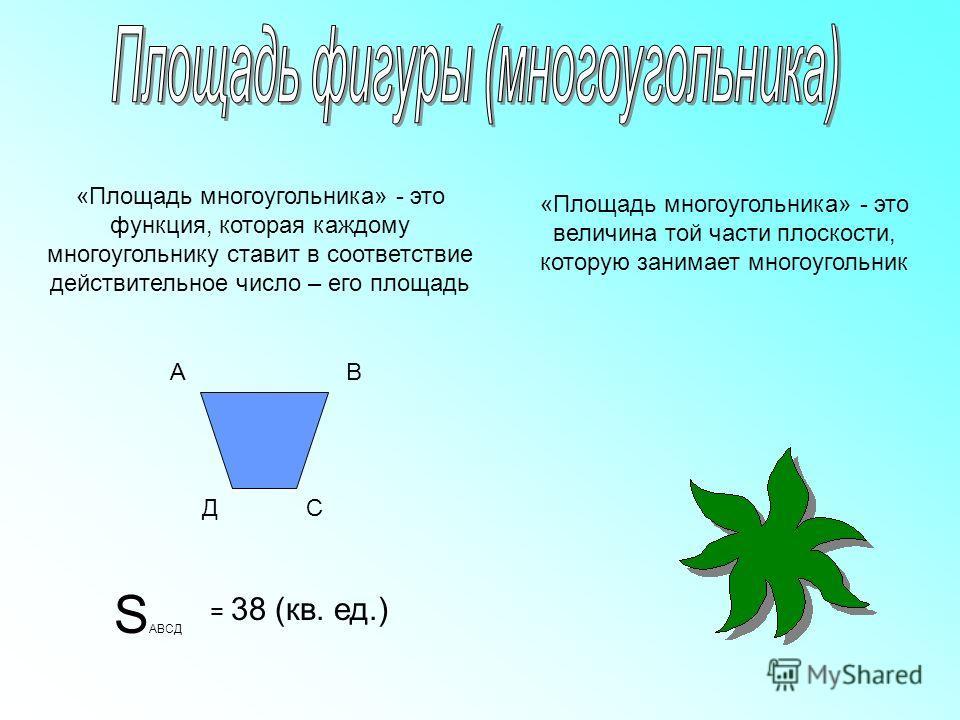 «Площадь многоугольника» - это функция, которая каждому многоугольнику ставит в соответствие действительное число – его площадь АВ СД S АВСД = 38 (кв. ед.) «Площадь многоугольника» - это величина той части плоскости, которую занимает многоугольник