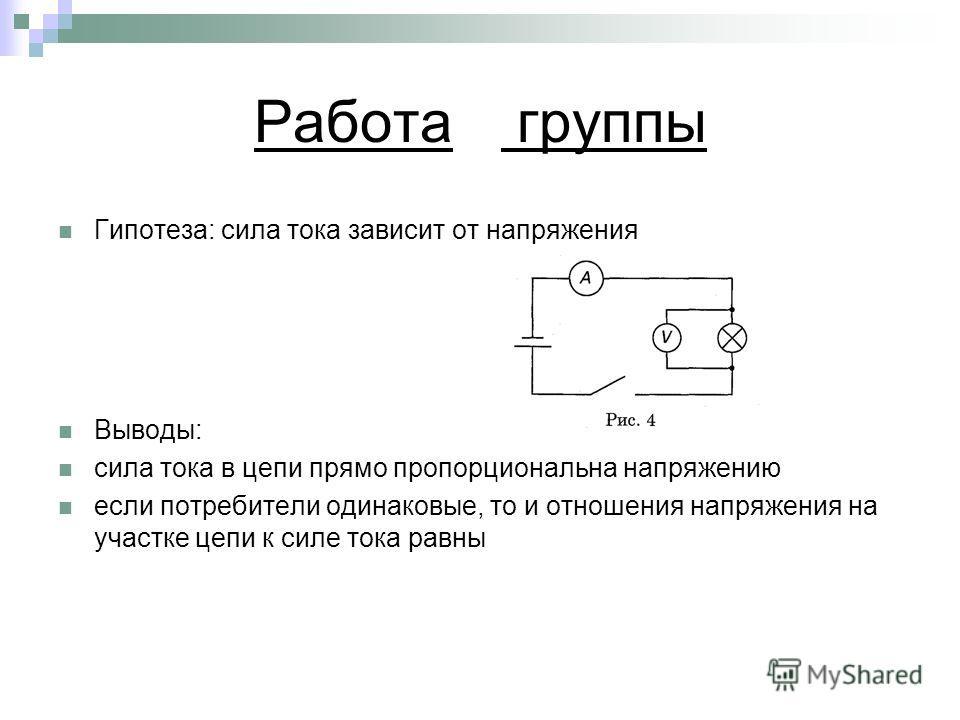 Работа группы Гипотеза: сила тока зависит от напряжения Выводы: сила тока в цепи прямо пропорциональна напряжению если потребители одинаковые, то и отношения напряжения на участке цепи к силе тока равны