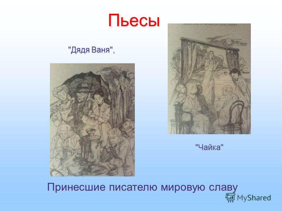 Пьесы Чайка Дядя Ваня, Принесшие писателю мировую славу