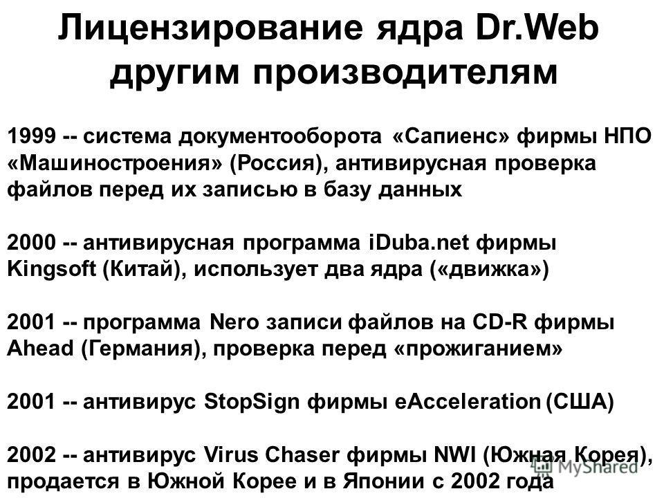 1999 -- система документооборота «Сапиенс» фирмы НПО «Машиностроения» (Россия), антивирусная проверка файлов перед их записью в базу данных 2000 -- антивирусная программа iDuba.net фирмы Kingsoft (Китай), использует два ядра («движка») 2001 -- програ
