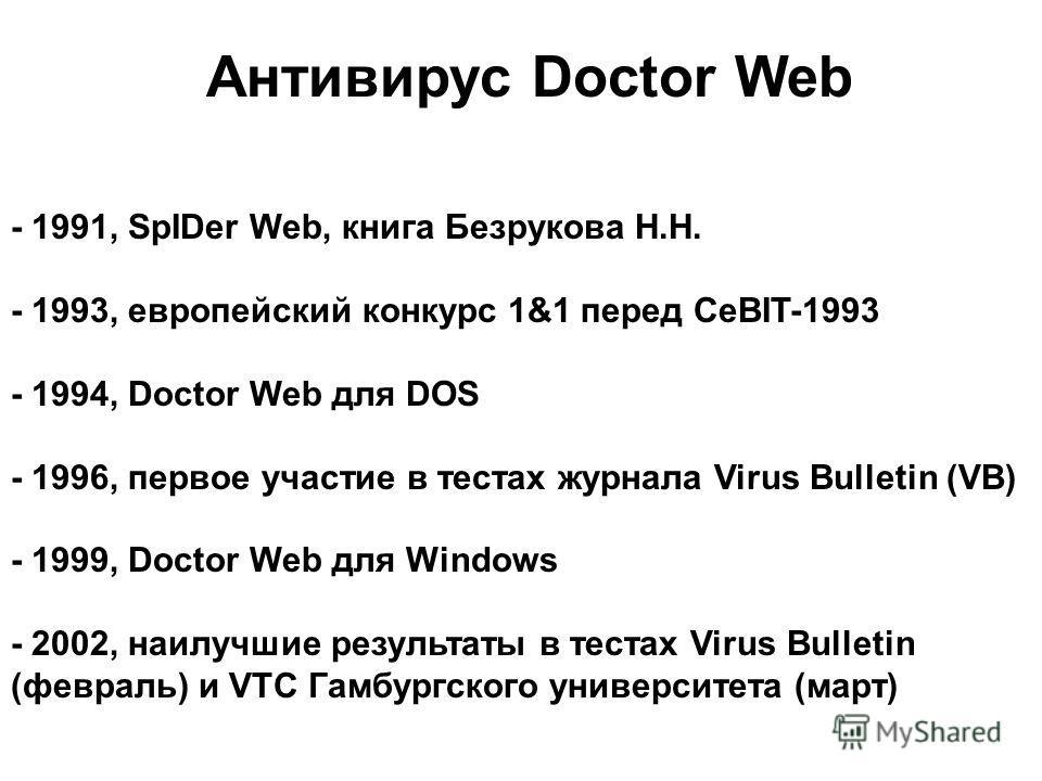 Антивирус Doctor Web - 1991, SpIDer Web, книга Безрукова Н.Н. - 1993, европейский конкурс 1&1 перед CeBIT-1993 - 1994, Doctor Web для DOS - 1996, первое участие в тестах журнала Virus Bulletin (VB) - 1999, Doctor Web для Windows - 2002, наилучшие рез