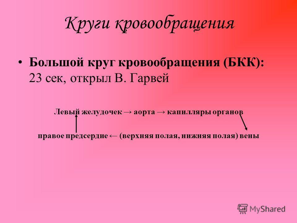 Круги кровообращения Большой круг кровообращения (БКК): 23 сек, открыл В. Гарвей Левый желудочек аорта капилляры органов правое предсердие (верхняя полая, нижняя полая) вены