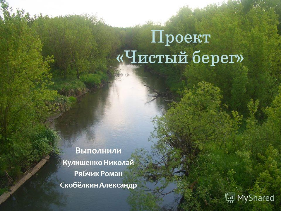 Проект «Чистый берег» Выполнили Кулишенко Николай Рябчик Роман Скобёлкин Александр