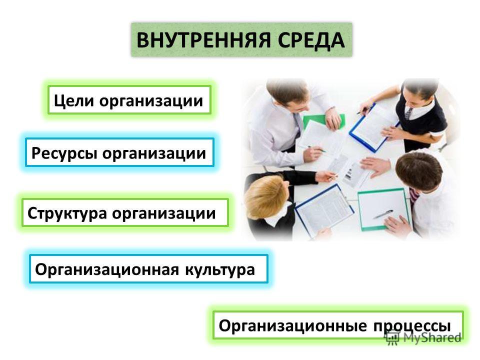 ВНУТРЕННЯЯ СРЕДА Цели организации Структура организации Организационная культура Организационные процессы Ресурсы организации