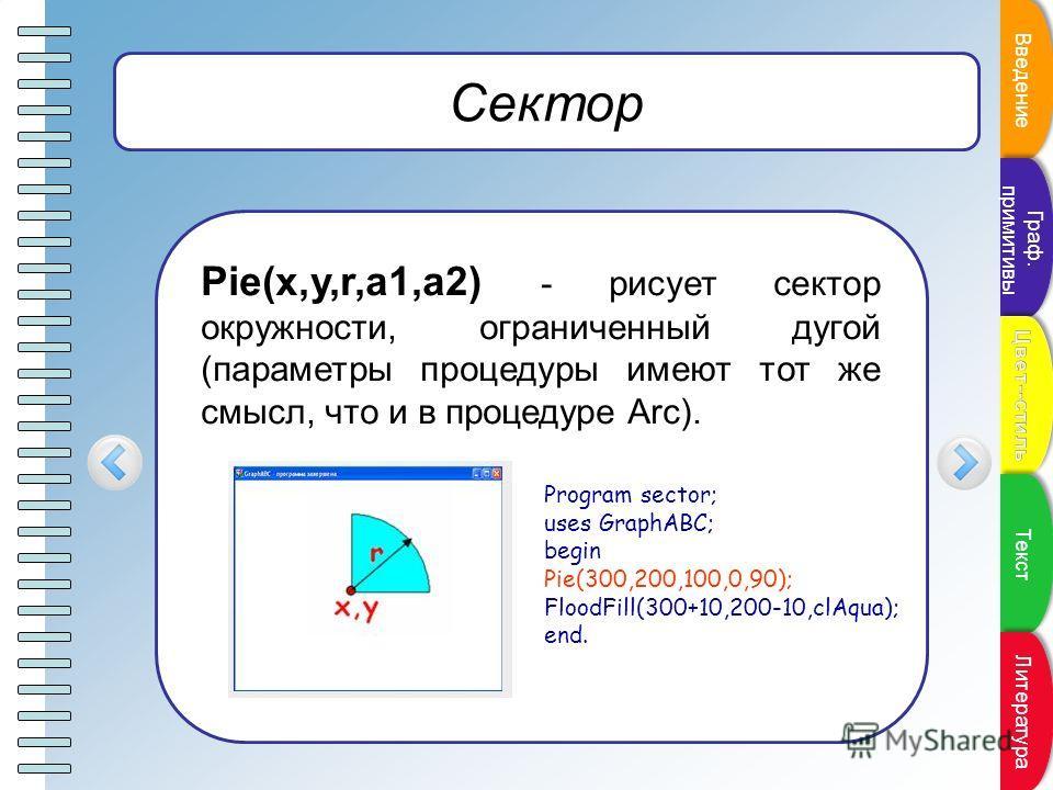Пункт плана Сектор Pie(x,y,r,a1,a2) - рисует сектор окружности, ограниченный дугой (параметры процедуры имеют тот же смысл, что и в процедуре Arc). Program sector; uses GraphABC; begin Pie(300,200,100,0,90); FloodFill(300+10,200-10,clAqua); end. Введ