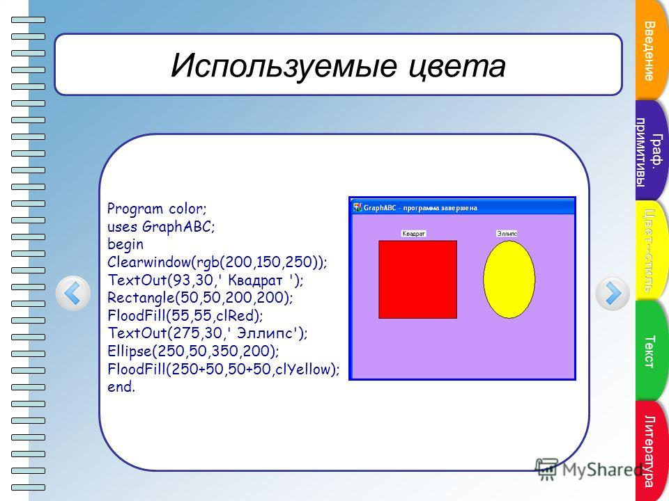 Пункт плана Используемые цвета Program color; uses GraphABC; begin Clearwindow(rgb(200,150,250)); TextOut(93,30,' Квадрат '); Rectangle(50,50,200,200); FloodFill(55,55,clRed); TextOut(275,30,' Эллипс'); Ellipse(250,50,350,200); FloodFill(250+50,50+50