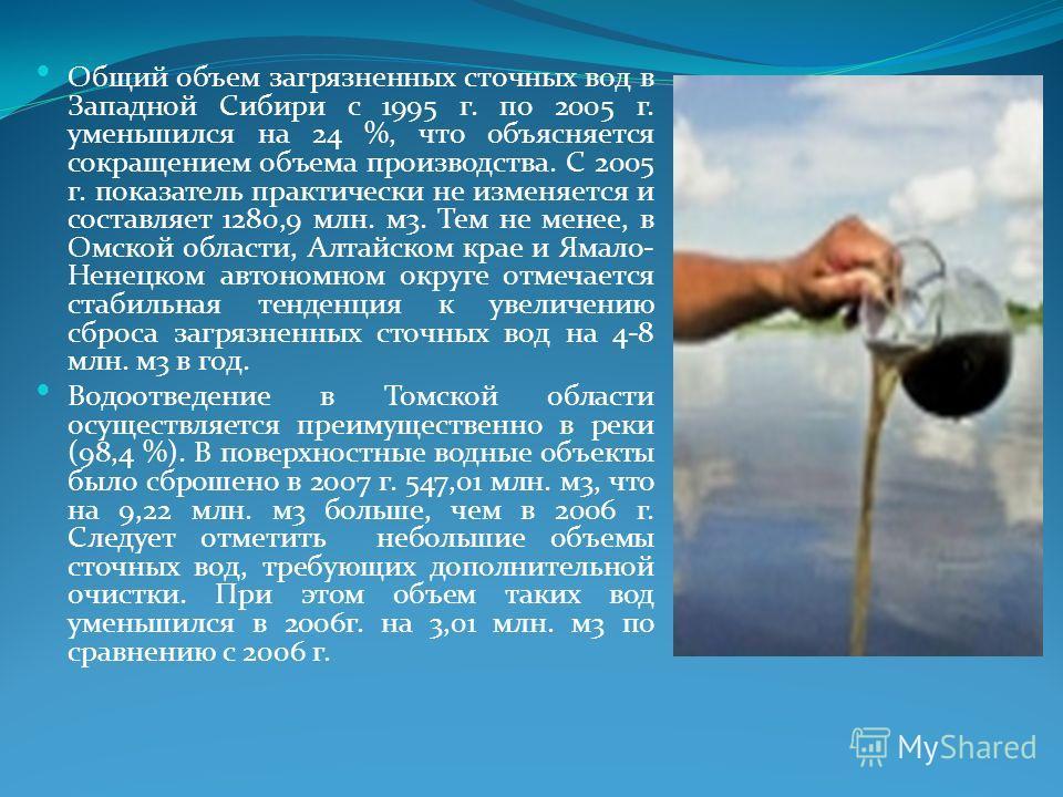 Общий объем загрязненных сточных вод в Западной Сибири с 1995 г. по 2005 г. уменьшился на 24 %, что объясняется сокращением объема производства. С 2005 г. показатель практически не изменяется и составляет 1280,9 млн. м3. Тем не менее, в Омской област