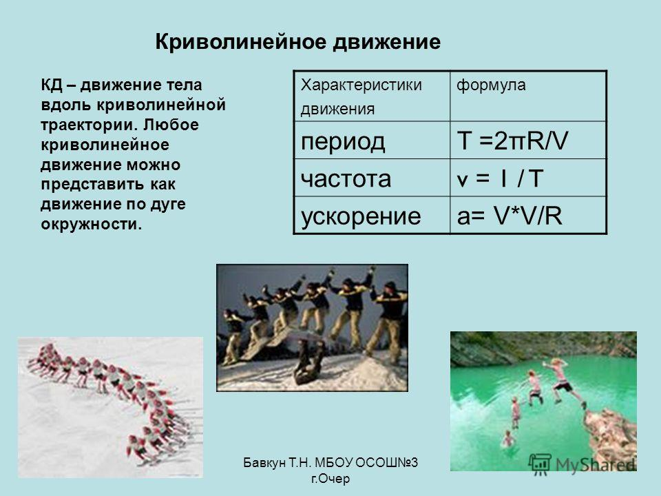 Бавкун Т.Н. МБОУ ОСОШ3 г.Очер Криволинейное движение Характеристики движения формула периодT =2πR/V частота v = 1 / T ускорениеa= V*V/R КД – движение тела вдоль криволинейной траектории. Любое криволинейное движение можно представить как движение по