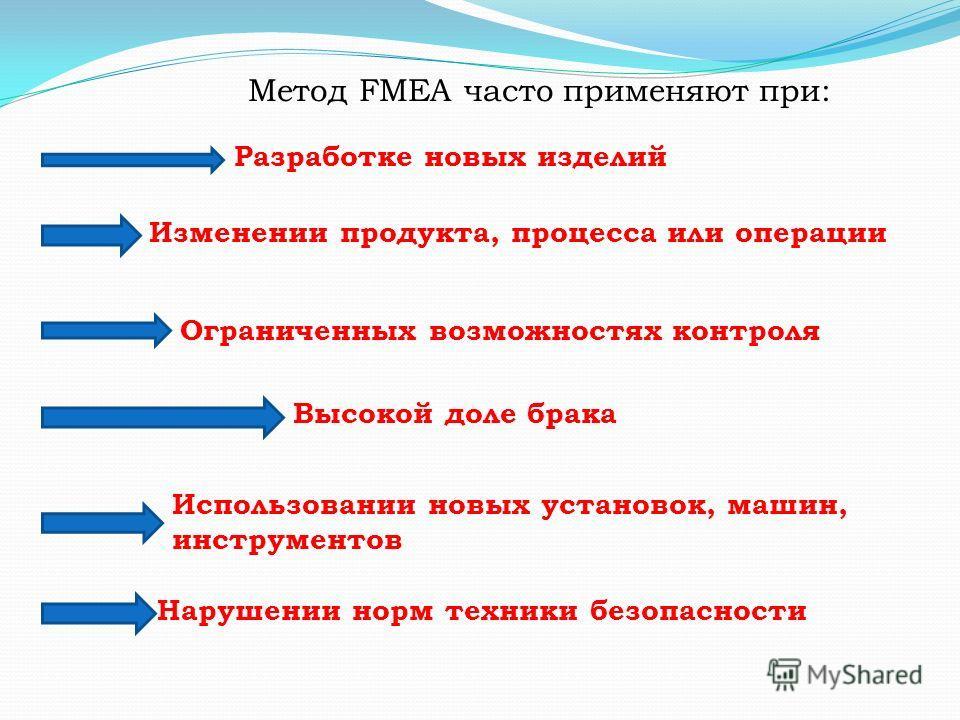 Метод FMEA часто применяют при: Разработке новых изделий Изменении продукта, процесса или операции Ограниченных возможностях контроля Высокой доле брака Использовании новых установок, машин, инструментов Нарушении норм техники безопасности