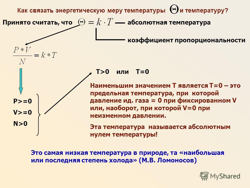Как связать энергетическую меру температуры и температуру? Принято считать, что Наименьшим значением T является Т=0 – это предельная температура, при которой давление ид. газа = 0 при фиксированном V или, наоборот, при которой V=0 при неизменном давл