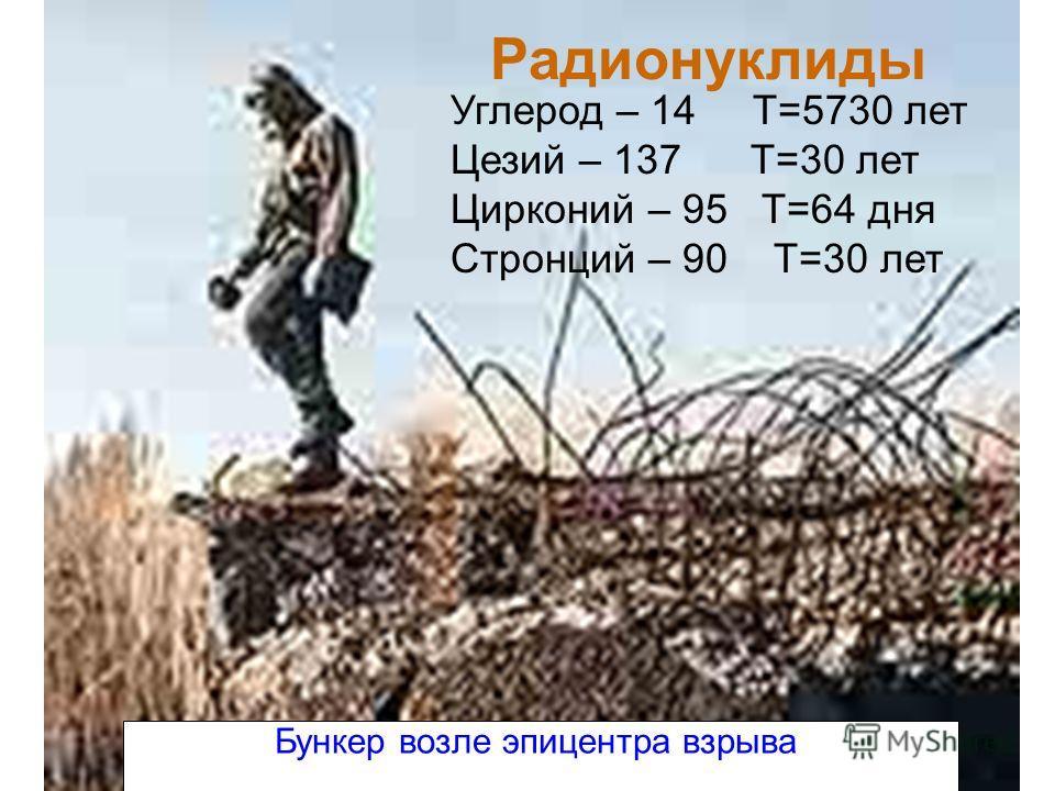 Радионуклиды Углерод – 14 Т=5730 лет Цезий – 137 Т=30 лет Цирконий – 95 Т=64 дня Стронций – 90 Т=30 лет Бункер возле эпицентра взрыва