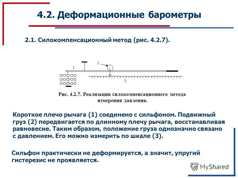 4.2. Деформационные барометры 2.1. Силокомпенсационный метод (рис. 4.2.7). 3 2 1 Рис. 4.2.7. Реализация силокомпенсационного метода измерения давления. Короткое плечо рычага (1) соединено с сильфоном. Подвижный груз (2) передвигается по длинному плеч