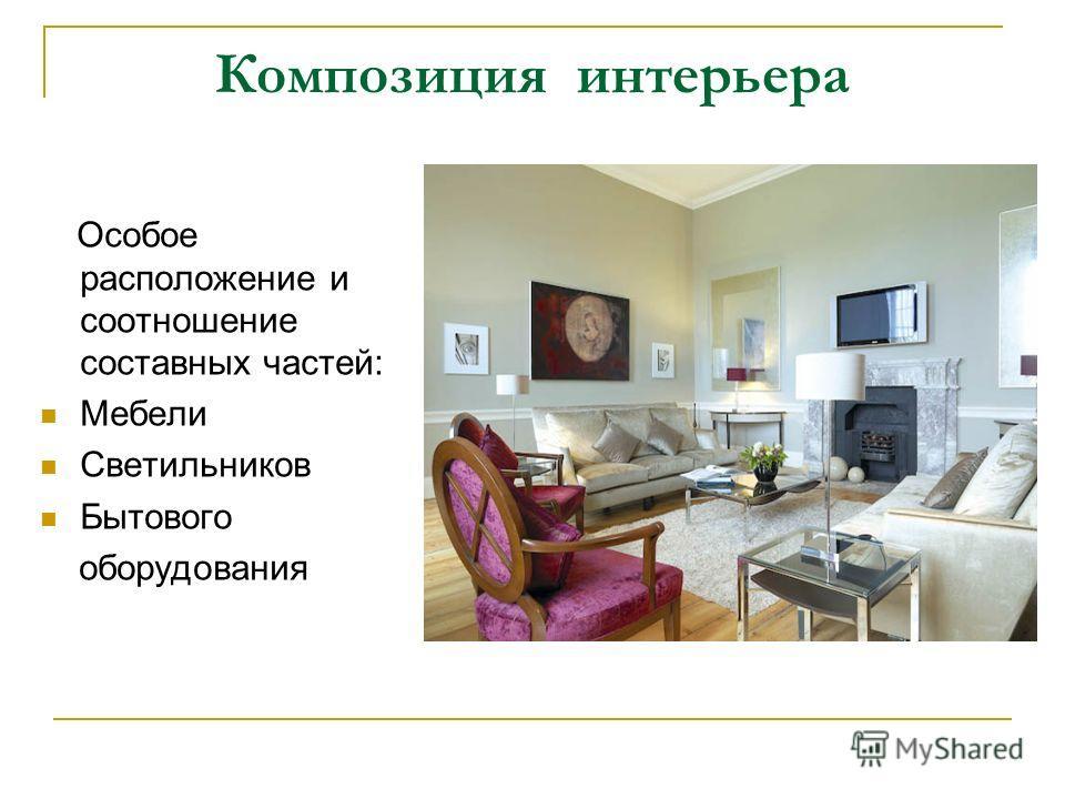 Композиция интерьера Особое расположение и соотношение составных частей: Мебели Светильников Бытового оборудования
