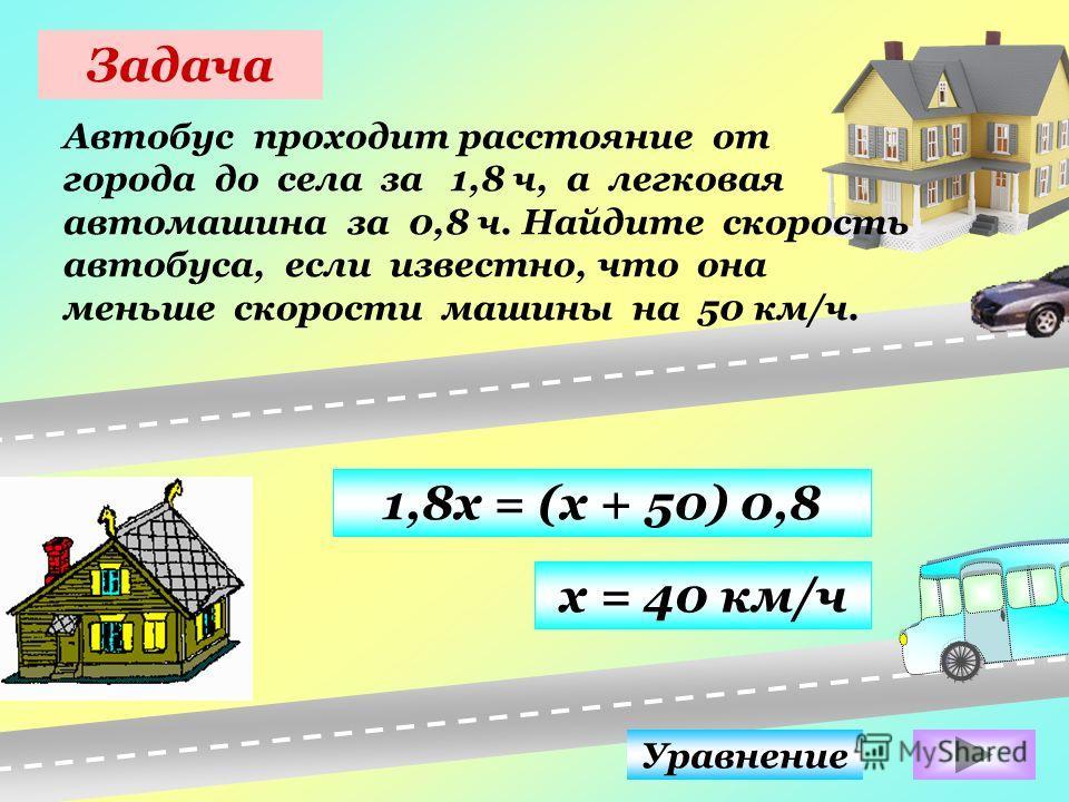 Задача Автобус проходит расстояние от города до села за 1,8 ч, а легковая автомашина за 0,8 ч. Найдите скорость автобуса, если известно, что она меньше скорости машины на 50 км/ч. Уравнение 1,8х = (х + 50) 0,8 х = 40 км/ч