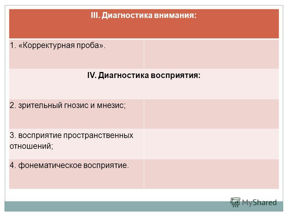 III. Диагностика внимания: 1. «Корректурная проба». IV. Диагностика восприятия: 2. зрительный гнозис и мнезис; 3. восприятие пространственных отношений; 4. фонематическое восприятие.