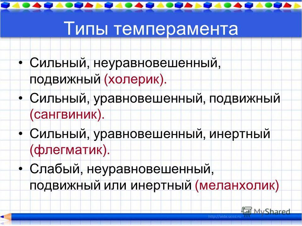 Типы темперамента Сильный, неуравновешенный, подвижный (холерик). Сильный, уравновешенный, подвижный (сангвиник). Сильный, уравновешенный, инертный (флегматик). Слабый, неуравновешенный, подвижный или инертный (меланхолик)