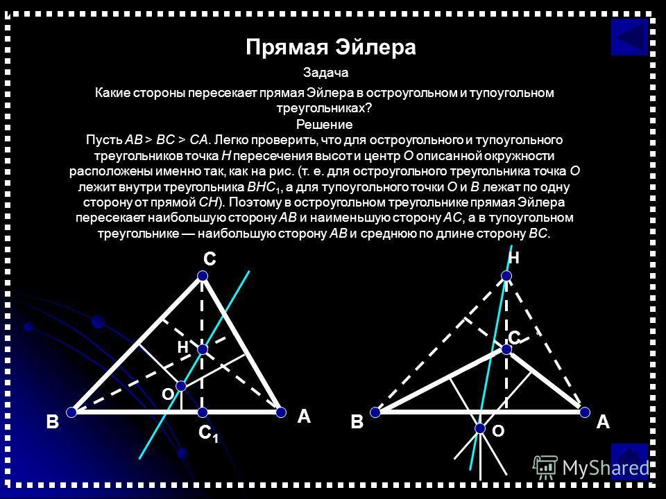 Прямая Эйлера Задача Какие стороны пересекает прямая Эйлера в остроугольном и тупоугольном треугольниках? Решение Пусть AB > BC > CA. Легко проверить, что для остроугольного и тупоугольного треугольников точка H пересечения высот и центр O описанной