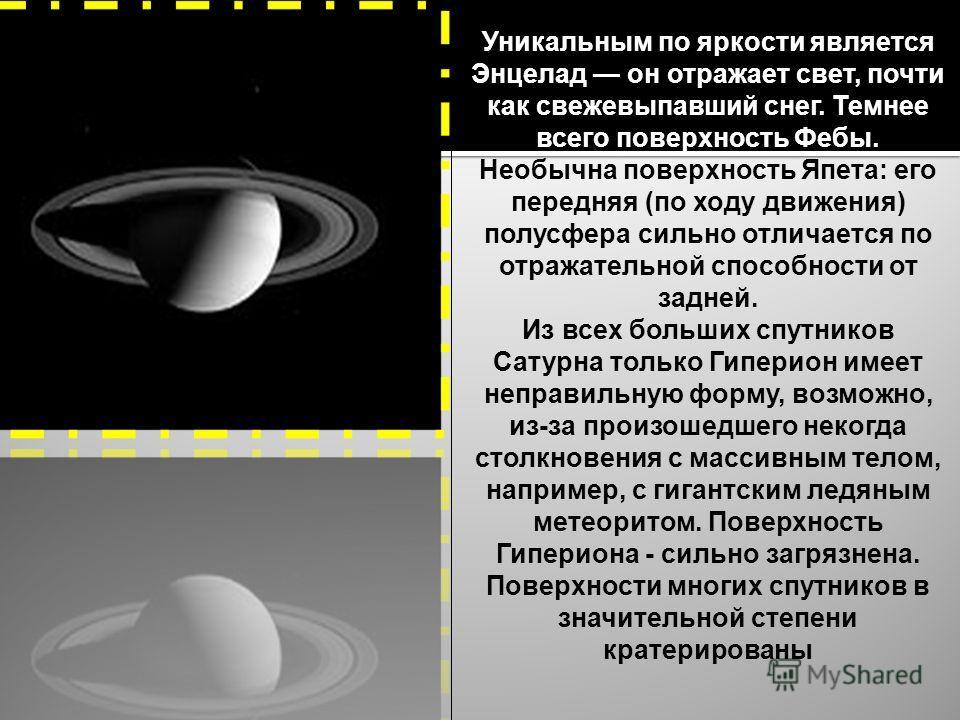 Уникальным по яркости является Энцелад он отражает свет, почти как свежевыпавший снег. Темнее всего поверхность Фебы. Необычна поверхность Япета: его передняя (по ходу движения) полусфера сильно отличается по отражательной способности от задней. Из в