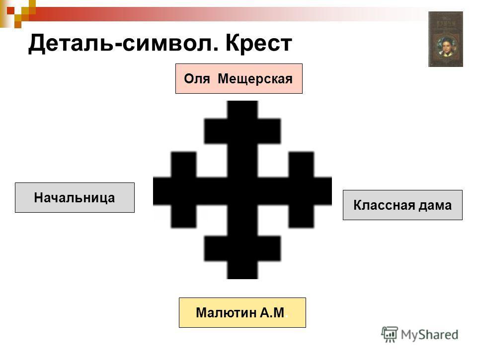 Деталь-символ. Крест Оля Мещерская Малютин А.М. Классная дама Начальница