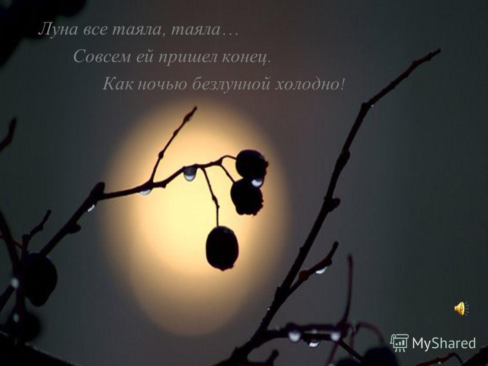 Луна все таяла, таяла … Совсем ей пришел конец. Как ночью безлунной холодно !