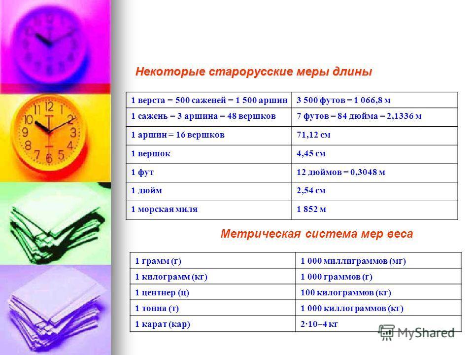 Некоторые старорусские меры длины 1 верста = 500 саженей = 1 500 аршин3 500 футов = 1 066,8 м 1 сажень = 3 аршина = 48 вершков7 футов = 84 дюйма = 2,1336 м 1 аршин = 16 вершков71,12 см 1 вершок4,45 см 1 фут12 дюймов = 0,3048 м 1 дюйм2,54 см 1 морская