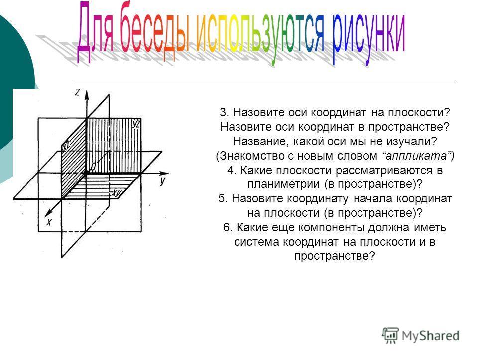 3. Назовите оси координат на плоскости? Назовите оси координат в пространстве? Название, какой оси мы не изучали? (Знакомство с новым словом аппликата) 4. Какие плоскости рассматриваются в планиметрии (в пространстве)? 5. Назовите координату начала к