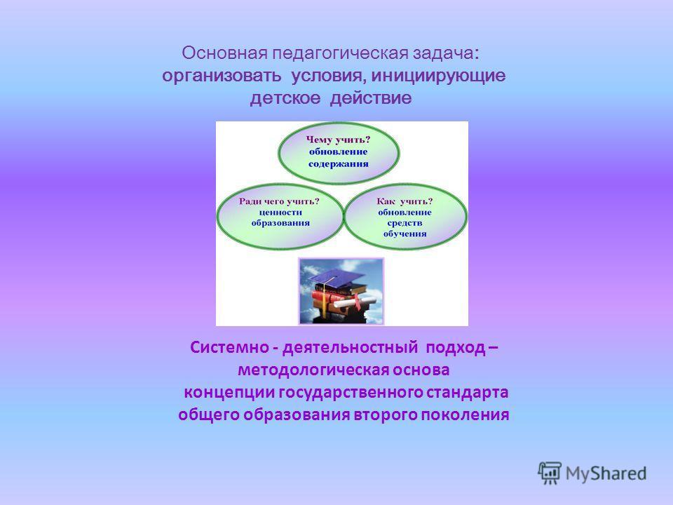 Системно - деятельностный подход – методологическая основа концепции государственного стандарта общего образования второго поколения Основная педагогическая задача: организовать условия, инициирующие детское действие