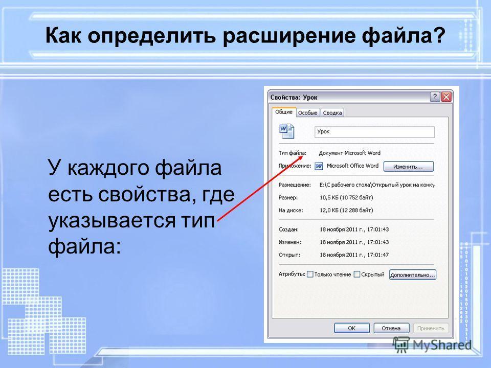Как определить расширение файла? У каждого файла есть свойства, где указывается тип файла: