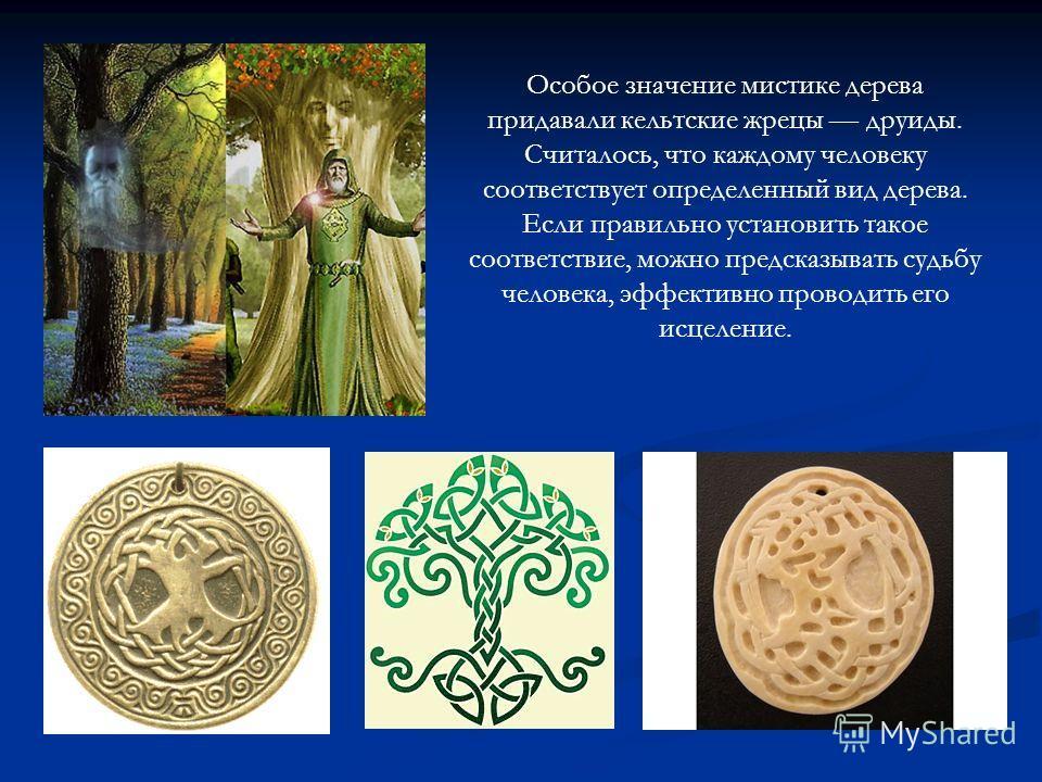 Особое значение мистике дерева придавали кельтские жрецы друиды. Считалось, что каждому человеку соответствует определенный вид дерева. Если правильно установить такое соответствие, можно предсказывать судьбу человека, эффективно проводить его исцеле