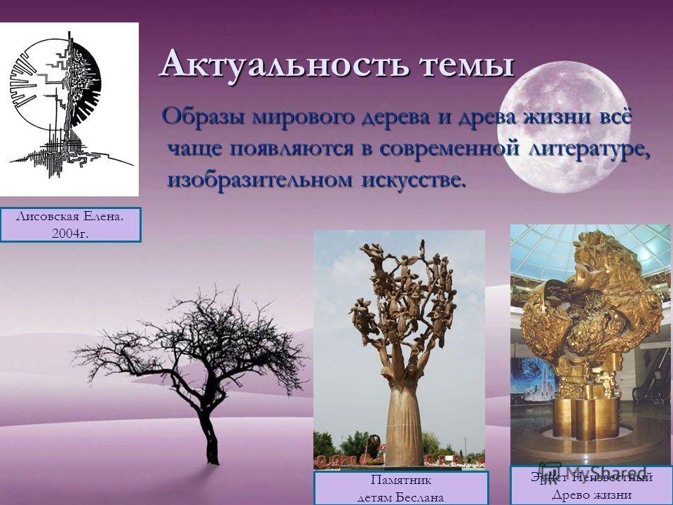 Актуальность темы Образы мирового дерева и древа жизни всё чаще появляются в современной литературе, изобразительном искусстве. Образы мирового дерева и древа жизни всё чаще появляются в современной литературе, изобразительном искусстве. Эрнст Неизве