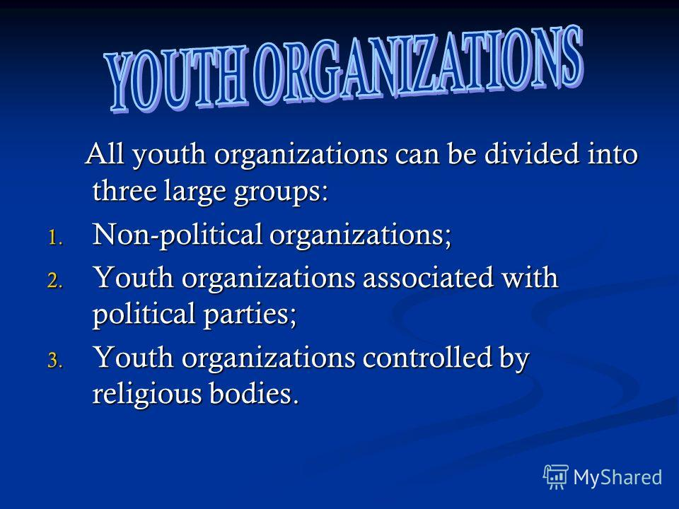 All youth organizations can be divided into three large groups: All youth organizations can be divided into three large groups: 1. Non-political organizations; 2. Youth organizations associated with political parties; 3. Youth organizations controlle