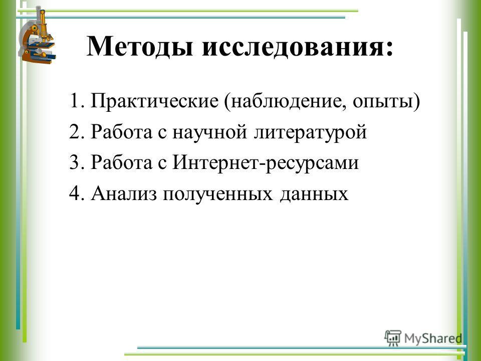 Методы исследования: 1. Практические (наблюдение, опыты) 2. Работа с научной литературой 3. Работа с Интернет-ресурсами 4. Анализ полученных данных