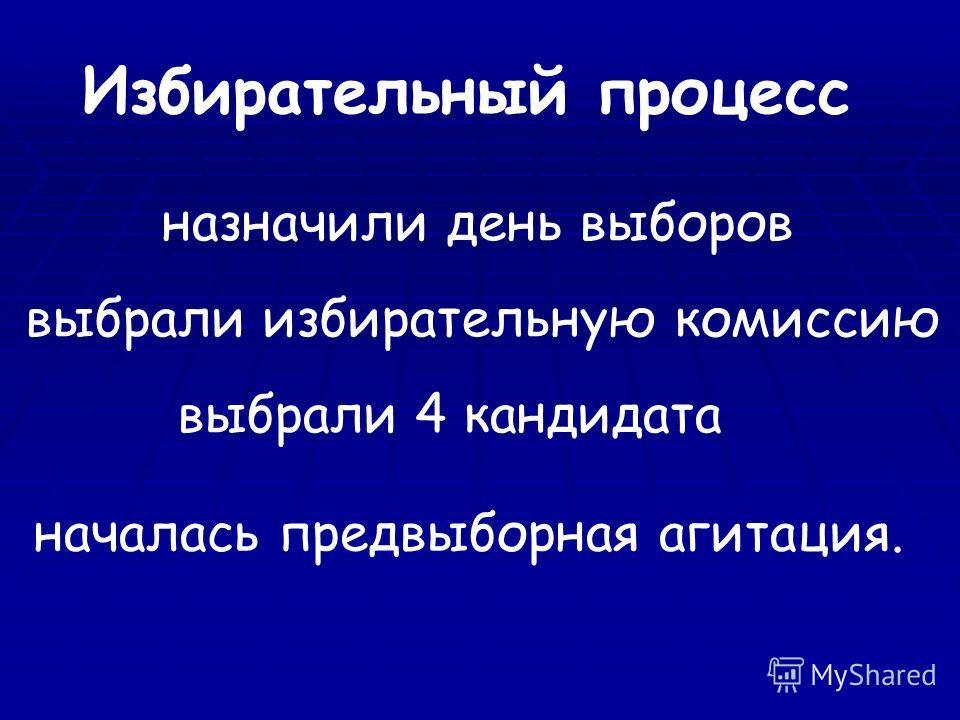 Избирательный процесс назначили день выборов выбрали избирательную комиссию выбрали 4 кандидата началась предвыборная агитация.