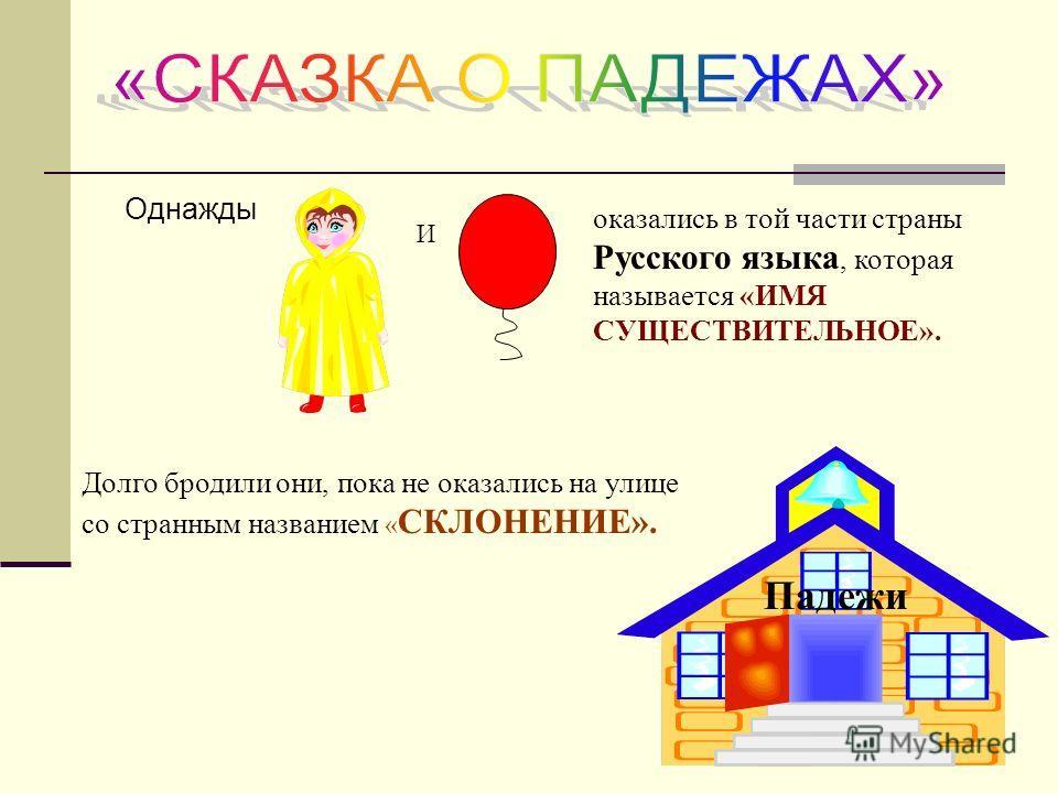 Однажды И оказались в той части страны Русского языка, которая называется «ИМЯ СУЩЕСТВИТЕЛЬНОЕ». Долго бродили они, пока не оказались на улице со странным названием « СКЛОНЕНИЕ». Падежи