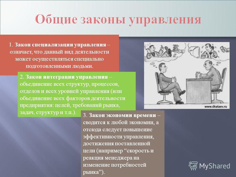 1. Закон специализации управления – означает, что данный вид деятельности может осуществляться специально подготовленными людьми. 2. Закон интеграции управления – объединение всех структур, процессов, отделов и всех уровней управления (или объединени
