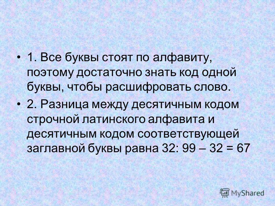1. Все буквы стоят по алфавиту, поэтому достаточно знать код одной буквы, чтобы расшифровать слово. 2. Разница между десятичным кодом строчной латинского алфавита и десятичным кодом соответствующей заглавной буквы равна 32: 99 – 32 = 67